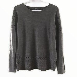 89th & Madison Boat-Neck Gray Long Sleeve Sweater